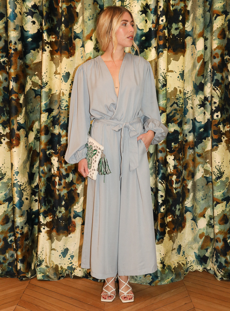 woman wearing grey jumpsuit cossac sanna conscious concept