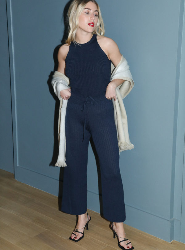 woman wearing a navy tank and a navy pant eleven six sanna conscious concept
