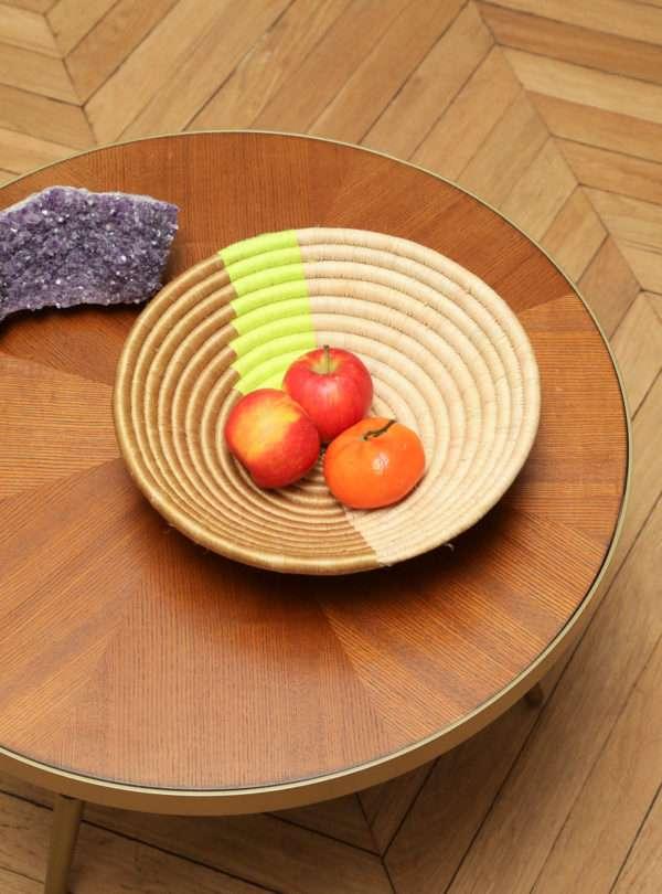 Plateau décoratif tissé à la main en citron