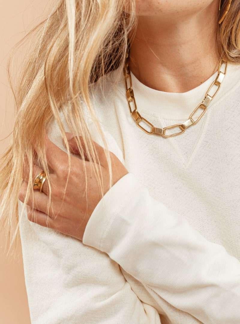 woman wearing the capsule collar necklace soko sanna conscious concept