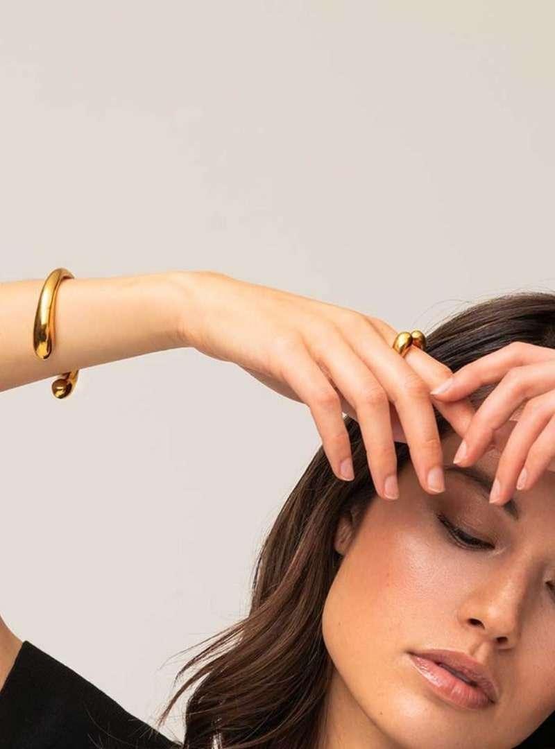 woman wearing the dash cuff bracelet soko sanna conscious concept