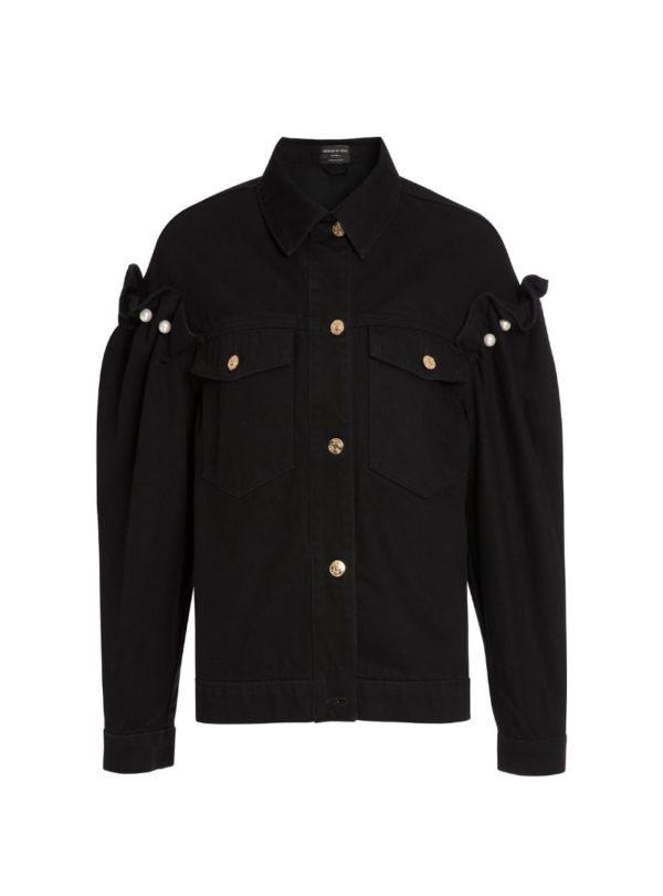 black denim jacket women's mother of pearl sanna conscious concept