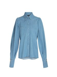 darcie shirt in blue mother of pearl sanna conscious concept