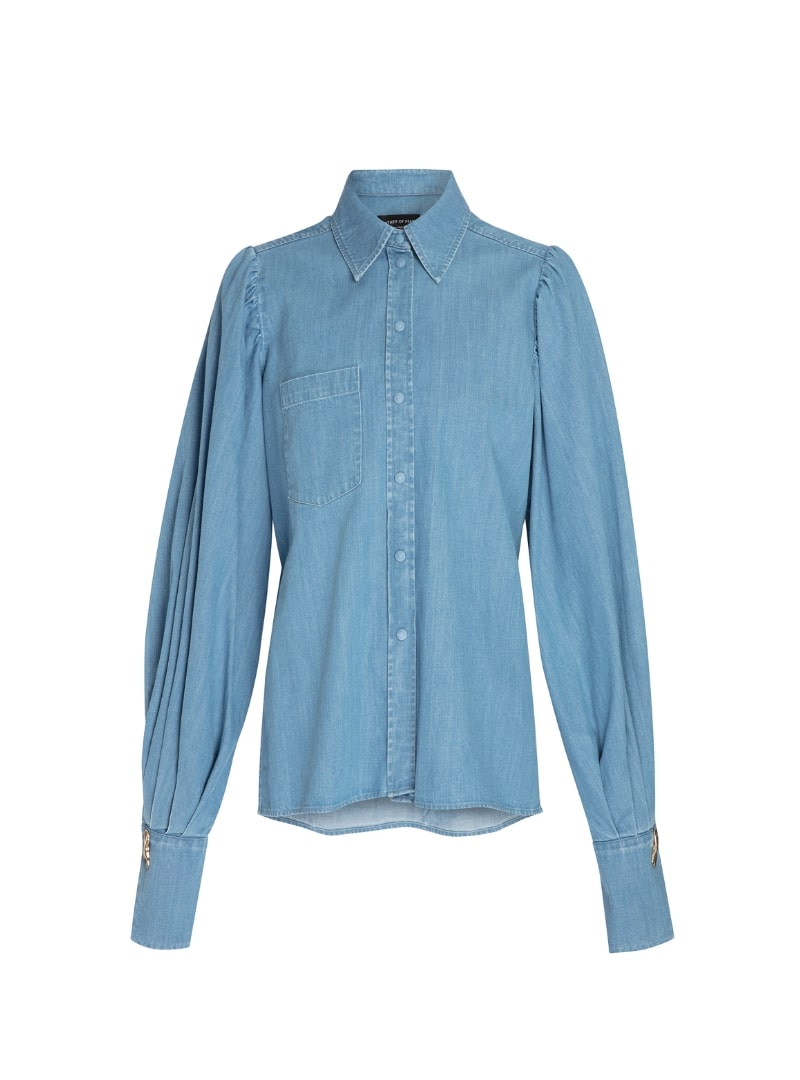 blue denim shirt women's mother of pearl sanna conscious concept
