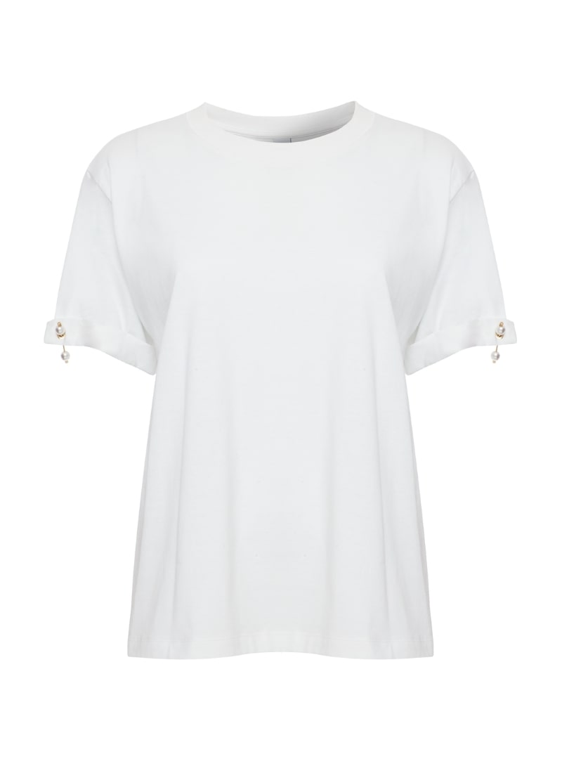 white women's pearl t-shirt mother of pearl sanna conscious concept