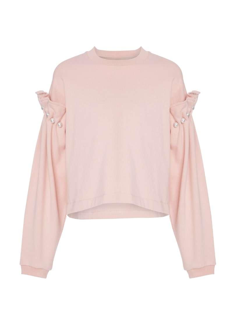 pink women's sweatshirt mother of pearl sanna conscious concept
