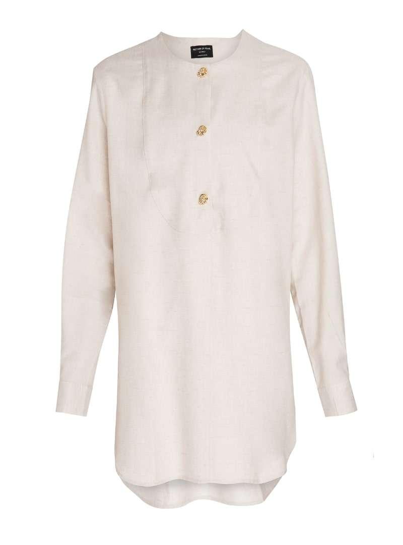 beige women's shirt mother of pearl sanna conscious concept