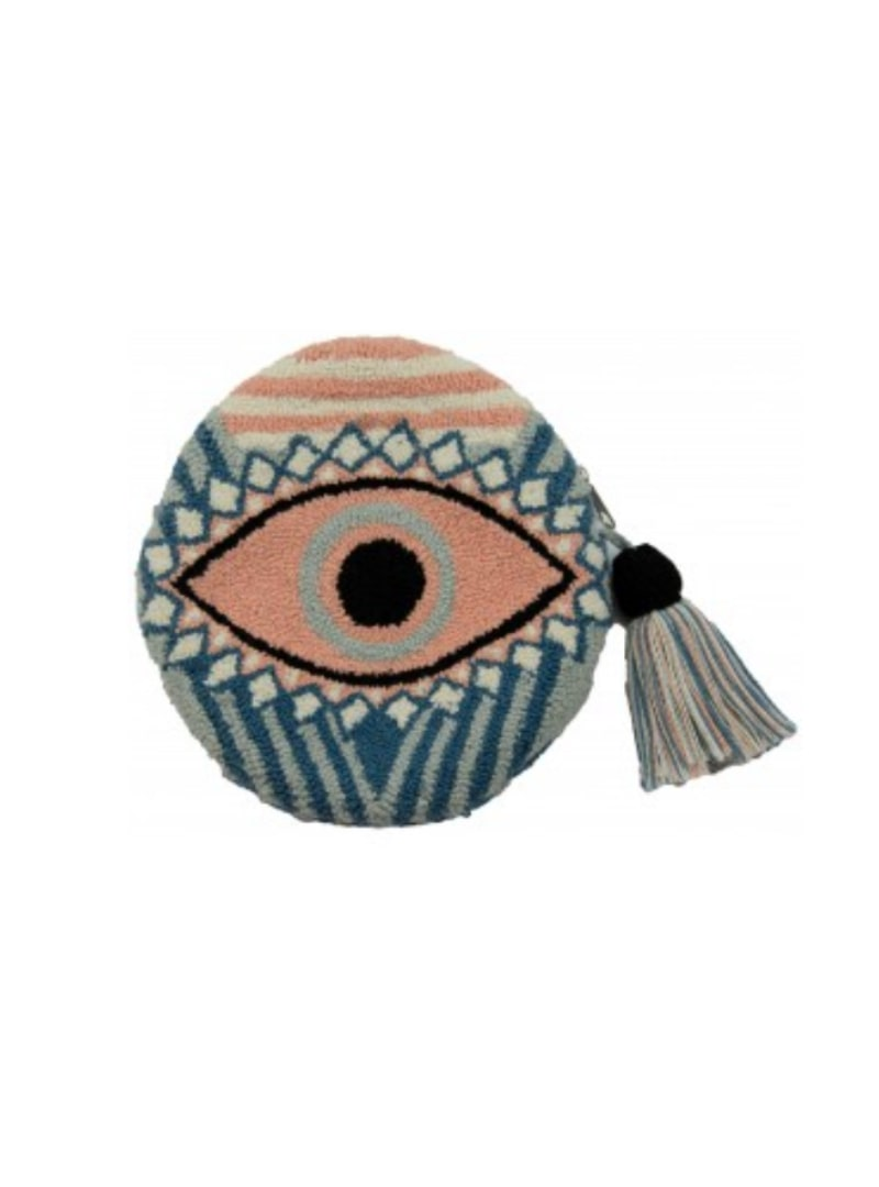 blue and pink round pouch with an eye mama tierra sanna conscious concept