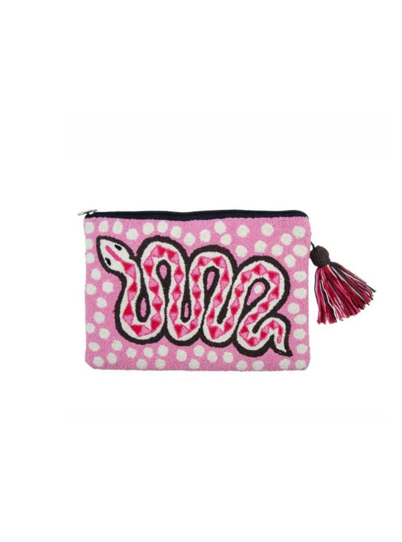 pink pouch with a snake mama tierra sanna conscious concept