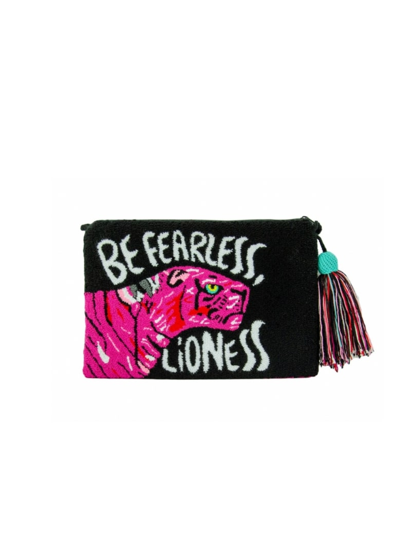 black and pink pouch with a lioness in the front mama tierra sanna conscious concept