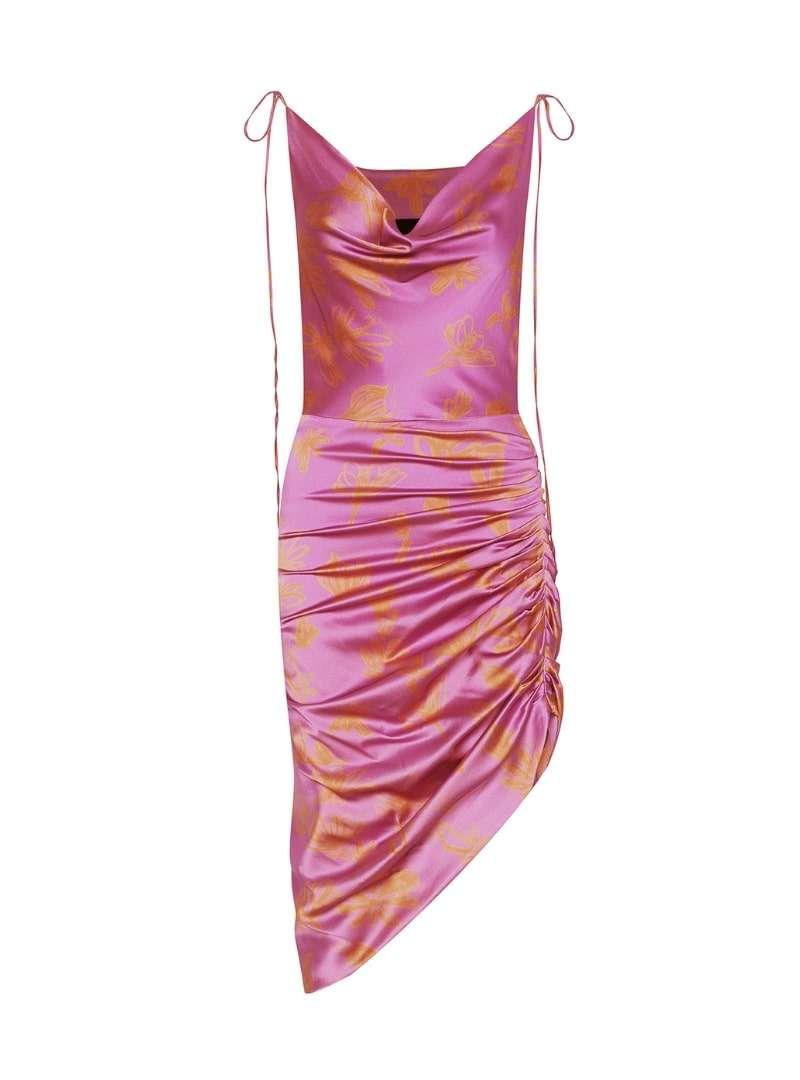 silk pink and orange ruched dress bogdar sanna conscious concept