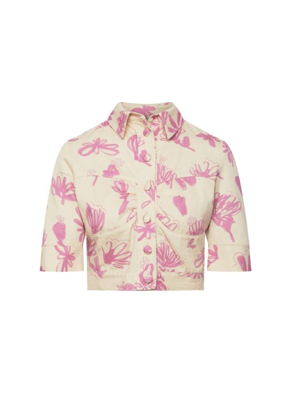 floral jacket in tan and pink bogdar sanna conscious concept