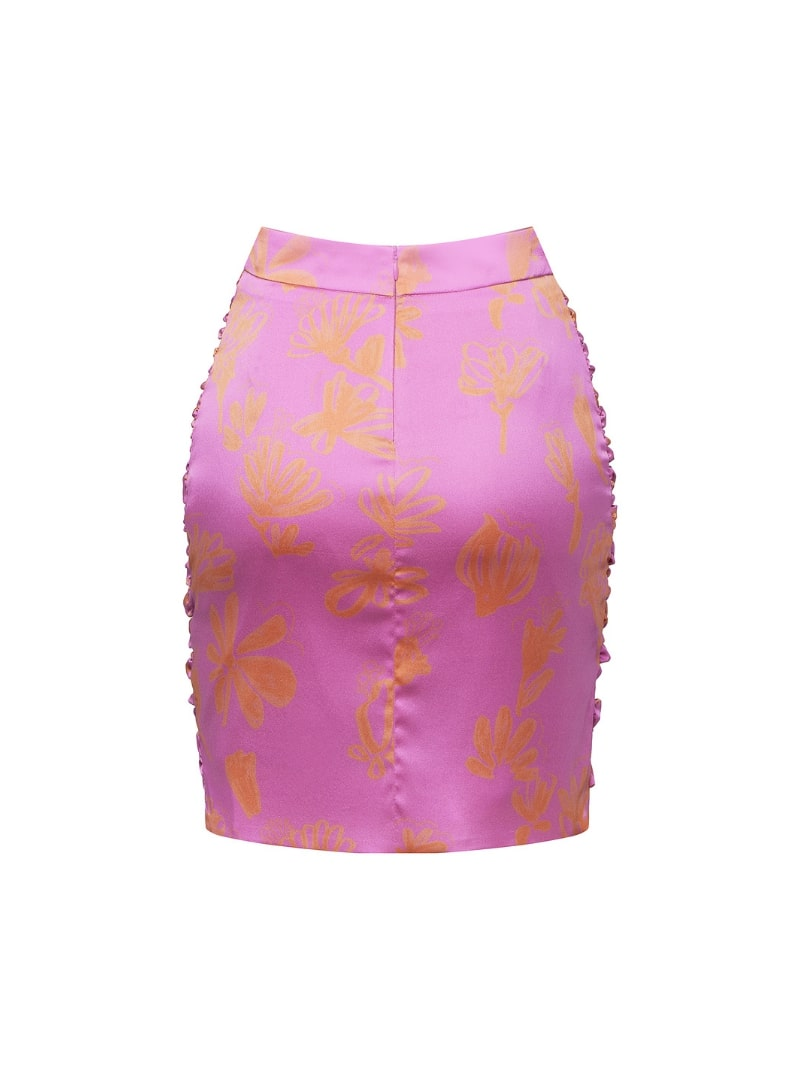 silk ruched skirt in pink and orange bogdar sanna conscious concept