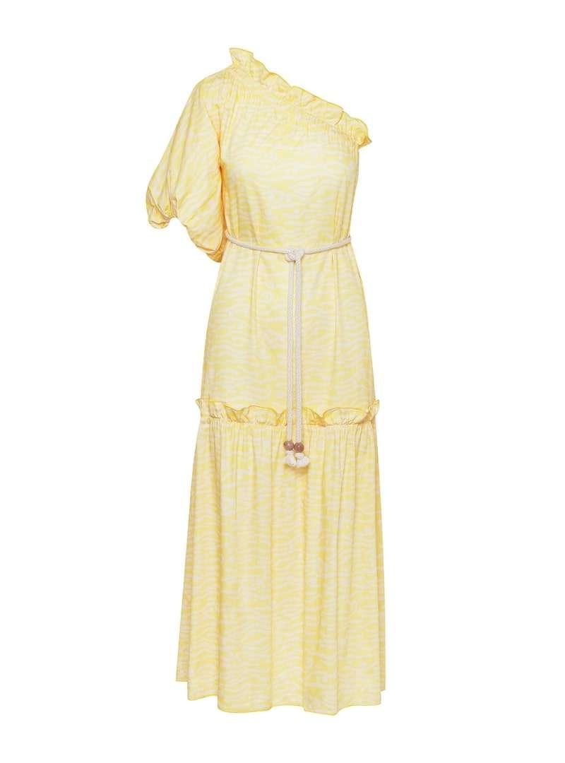 one shoulder maxi yellow dress bogdar sanna conscious concept