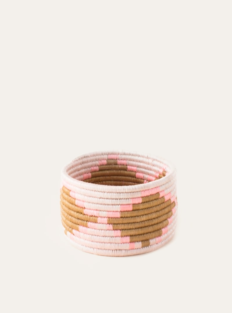 Small Woven Basket in Pink and Beige