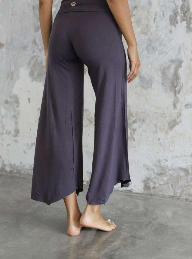 woman wearing Flares grey Charcoal indigo luna sanna conscious concept