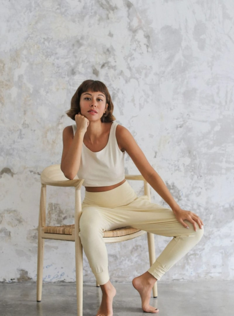 woman wearing beige pants indigo luna sanna conscious concept