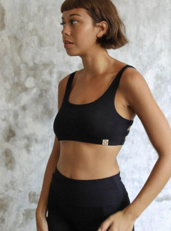 woman wearing boxy crop sport bra black indigo luna sanna conscious concept