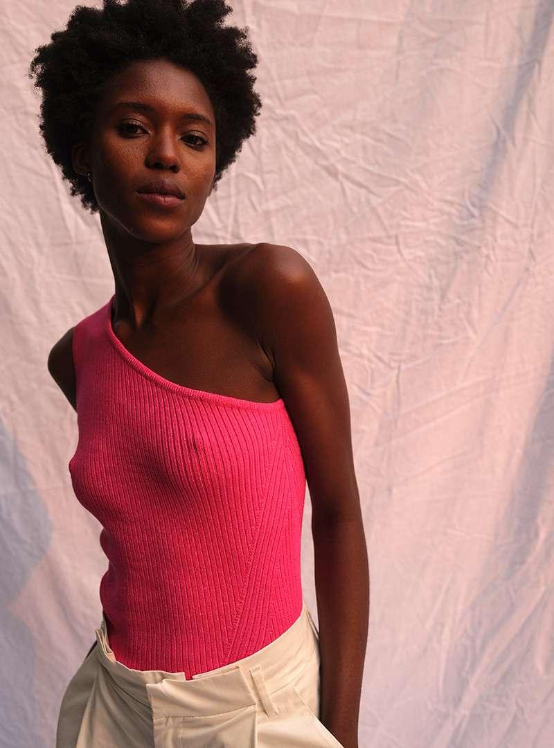 Black Woman Wearing Pink One Shoulder Top Eleven Six Sanna Conscious Concept