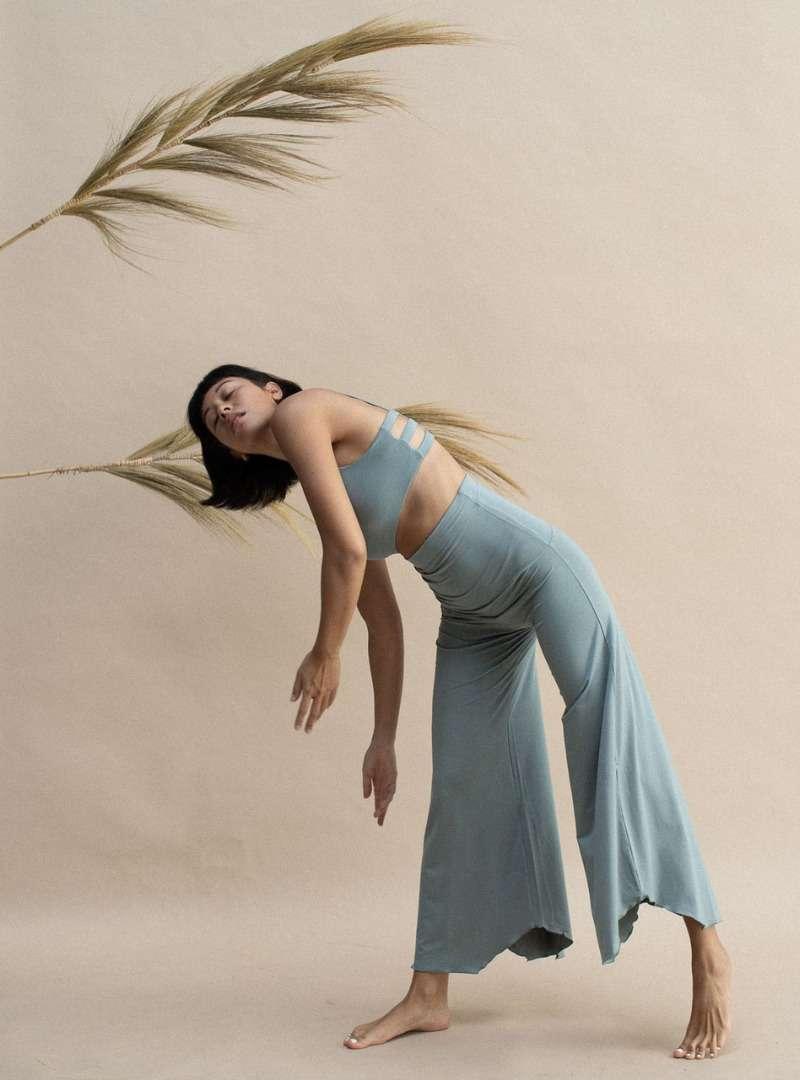 woman wearing blue comfy clothes Indigo Luna Sanna Conscious Concept