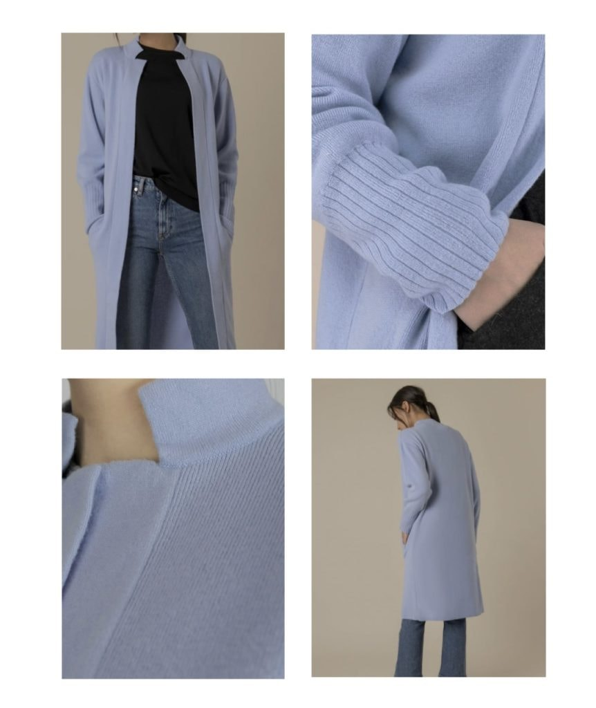 woman wearing the prim lilac cardigan from francis stories sanna conscious concept
