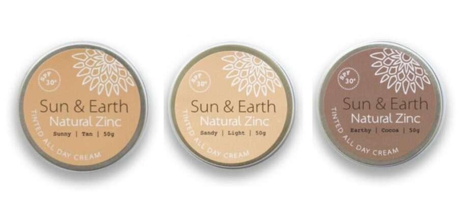 trio of tinted all day cream by sun & earth sanna conscious concept