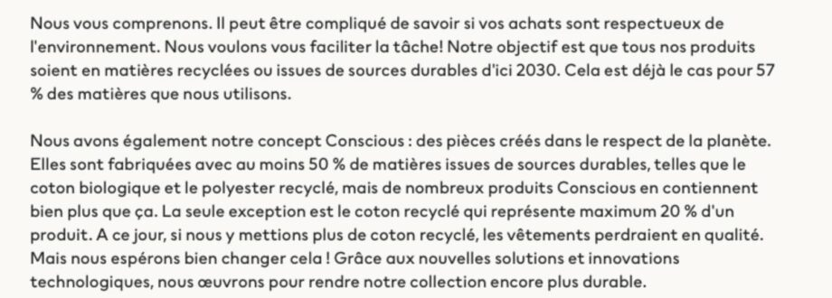 Les problèmes de la collection H&M Conscious